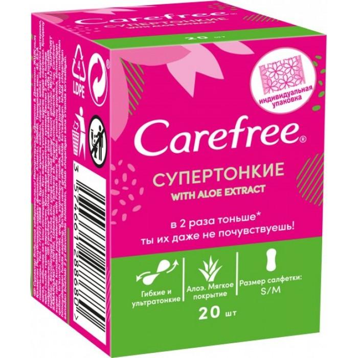 Супертонкие ежедневные прокладки Сarefree with Aloe extract в индивидуальных упаковках, 20 шт  -