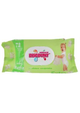 Салфетки влажные Discount Extra с экстрактом алоэ с клапаном для детей, 72