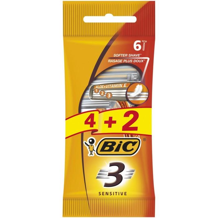 Набор бритв без сменных картриджей Bic Sensitive 3, 4 + 2 шт -
