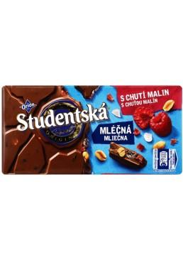 Шоколад молочный Studentska с малиной, орехами, желе, 180 г