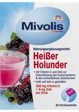 Горячий напиток для профилактики простуд и укрепления иммунитета Mivolis Vitamin C & Zink с бузинок, 20 шт