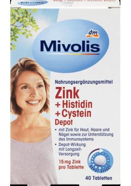 Биологически активная добавка для иммунитета Mivolis Zink + Histidin + Cystein, 40 шт