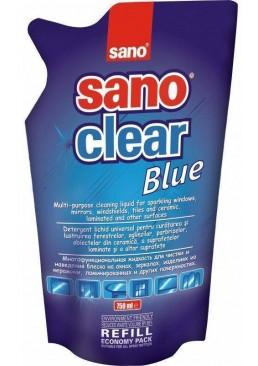 Средство для мытья окон, зеркал, фарфора Sano Blue (запаска), 750 мл