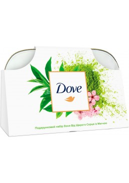Подарочный набор для женщин Dove От чистого сердца с матчей (бальзам, крем, дезодорант, шампунь, косметичка)