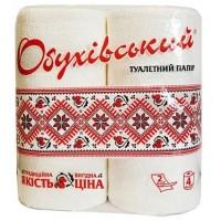 Туалетная бумага Обуховская 120 отрывов 2 слоя Белая, 4 рулона