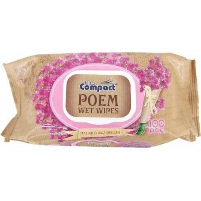 Влажные салфетки Ultra Compact Poem Italian Bougainville с клапаном, 100 шт  -