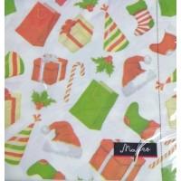 Салфетки столовые сервировочные Марго 3-х слойные Новогодние подарки, 20 шт