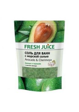Соль для ванны Авокадо и черимойя Fresh Juice 500г (Фреш Джус)