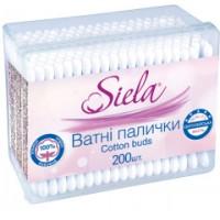 Ватные палочки Siela в пластиковой коробочке, 200 шт