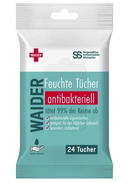Антибактериальные салфетки Waider для взрослых и детей с антисептиком, 24 шт