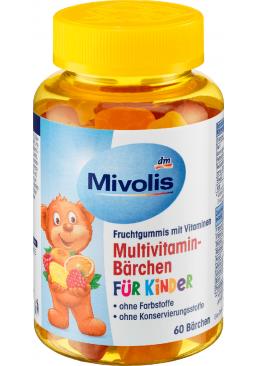 Жевательные мультивитамины для детей Mivolis Multivitamin-Bärchen für Kinder, 60 шт