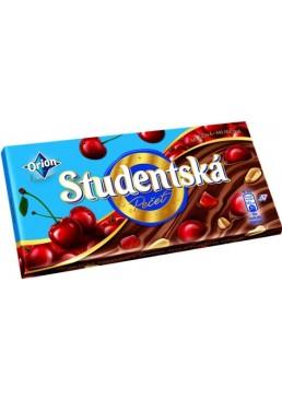 Шоколад молочный Studentska с орехами, желейными кусочками и кусочками вишни, 180 г