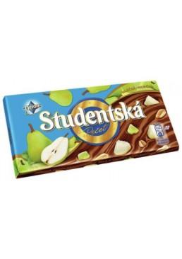Шоколад молочный Studentska с арахисом, желейными кусочками и кусочками груши, 180 г