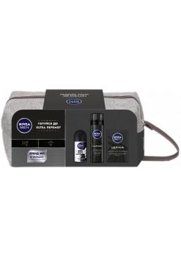 Набор подарочный с косметичкой Nivea Ultra 2019 (дезодорант, гель для бритья, лосьон после бритья)