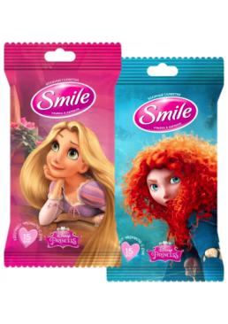 Влажные салфетки Smile Принцессы Дисней, 15 шт