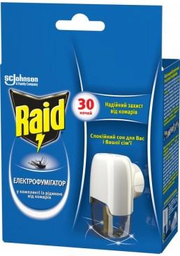 Электрофумигатор от комаров Raid 30 ночей в комплекте с жидкостью
