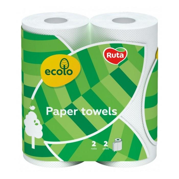 Бумажные полотенца Ecolo Белые 45 отрывов, 2 слоя 2 рулона -