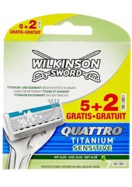 Сменные лезвия Wilkinson Sword Quattro Titanium Sensitive в упаковке, 5+2 шт