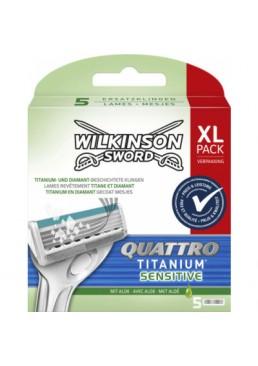Сменные лезвия Wilkinson Sword Quattro Titanium Sensitive в упаковке, 5 шт