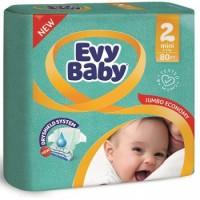 Подгузники детские Evy Baby Mini Standart 2 (3-6 кг), 80 шт