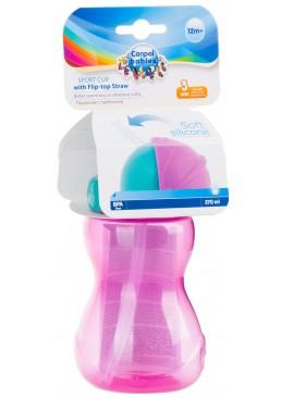 Бутылочка - поилка Canpol со складной трубочкой (с 12 месяцев) розовый цвет, 270 мл