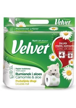 Туалетная бумага Velvet Ромашка и алоэ 3 слоя 4 рулона, 300 отрывов