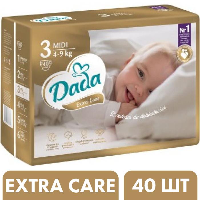 Подгузники Dada Extra Care 3 Midi (4-9 кг), 40 шт -