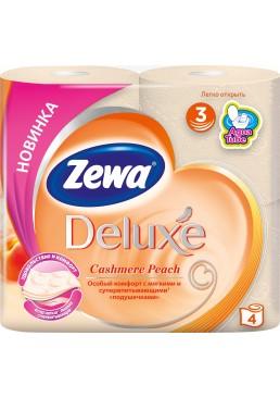 Туалетная бумага Zewa Deluxe трехслойная аромат Персик, 4 рулона